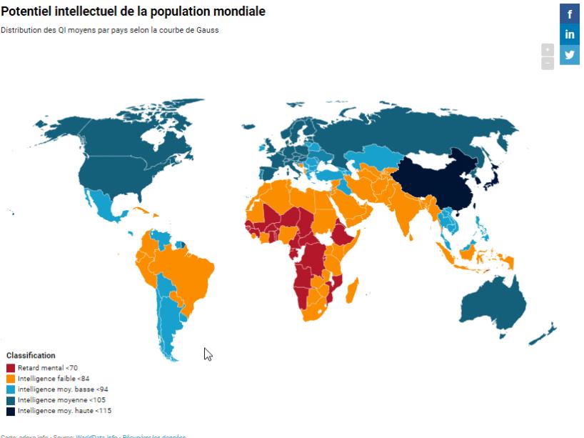nouvelle carte des qi -Potentiel intellectuel de la population mondiale- quotient intellectuel - migrants diminution qi - immigration - grand remplacement