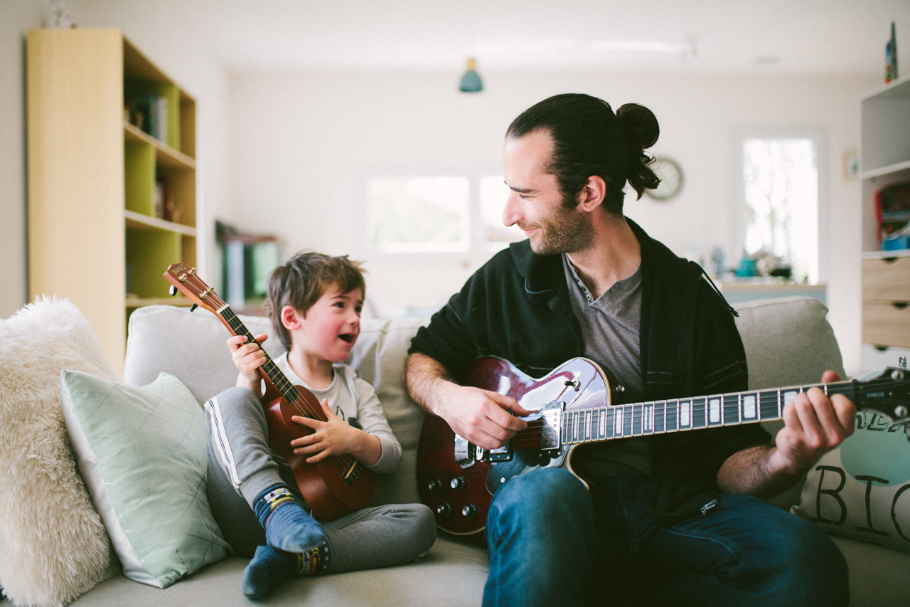 Family Photographer Father and son guitars
