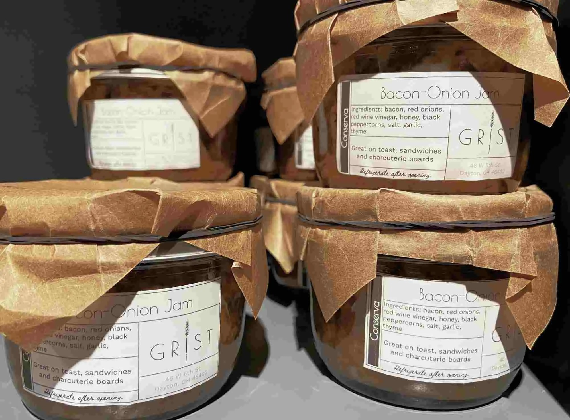 jam jars with printed labels