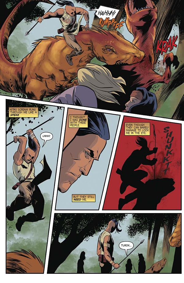 "A scene from ""Turok"" #9, the first issue co-written by Greg and Paul."