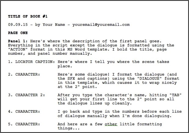Script Template | Greg Pak Comic Book Writer Filmmakerdownloadable Ms Word Comic