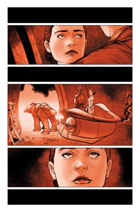 Star Wars: Darth Vader #2 preview page 1 - Padme and Anakin outside the arena