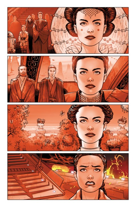 Star Wars: Darth Vader #2 preview image 03 - Padme as queen, senator, bride, and on the platform on Mustafar.