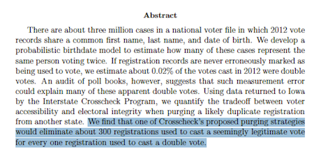 One Person, One Vote — Crosscheck Study