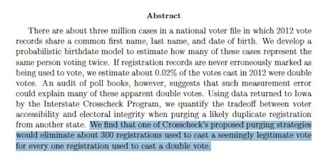 One Person, One Vote — Crosscheck Study