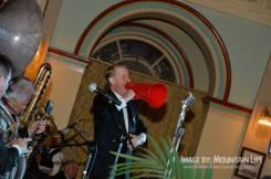 Greg Poppleton 1920s singer with megaphone