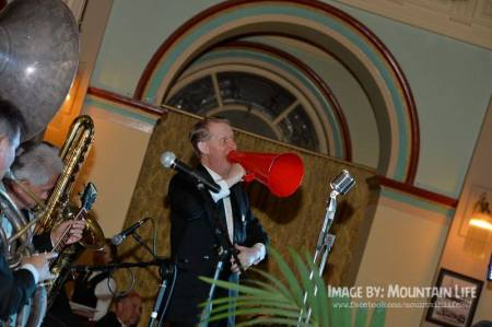 Greg Poppleton 1920s singer with megaphone