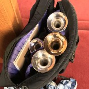 Greg's trumpet collection. Bach Stradivarius Bb and C, Stomvi Elite Eb/D, Yamaha YTR-9835 Bb/A Piccolo Trumpet.