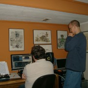 "Recording engineer Jonathan Cresci and Greg listen to takes from ""Singularity,"" Greg's debut recording on the Fundamental Sounds label, released in 2011."