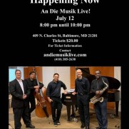 "Jazz One took the ""Happening Now"" show to An Die Musik in the summer of 2019, performing a concert of all-original music before an enthusiastic hometown crowd."