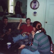 The Joseph McCarthy Revival Quintet practices in the spring of 1997. (left to right, Dan Ribaudo [keyboard], Chris Robson [guitar], Greg Small [trumpet], Adam Jones [guitar])