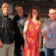 The Songbook Jazz Quintet, featuring vocalist Julie Keim, opened for headliner Branford Marsalis at the 2013 Silver Spring Jazz Festival. (left to right, Chris Vadala [sax], Greg Small [piano], Chris Gekker [trumpet], Julie Keim [vocals], Kevin Pace [bass], Danny Villanueva [drums])