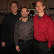 In 2013, Greg played a program of holiday music in a trio at Babcock Presbyterian Church. (left to right; Chris Gekker [trumpet], Danny Villanueva [percussion], Greg Small [piano]