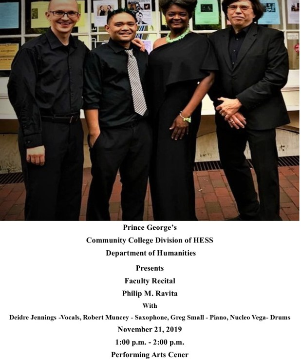 Greg performed on Phil Ravita's faculty recital at Prince George's Community College in November of 2019.