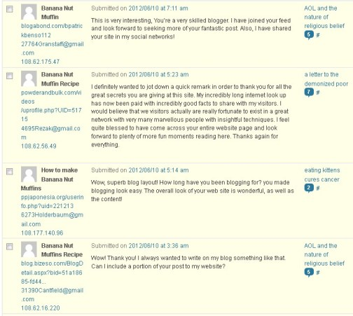 Banana Nut Muffins Spam Comments