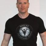 Greg Stevens wearing The Satanic Temple Dallas chapter t-shirt.