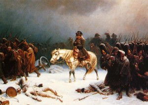 Viktor Cherevin keeps a giant painting to Napoleon's defeat in Moscow, symbolizing his intense pride in Russia, and his desire for Russia to triumph over military enemies.