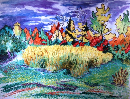 Hayfield and Foliage 2 (Oil)