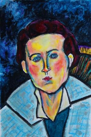 Woman with Blue and Gray Coat