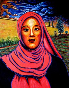 Jeune femme et mur jaune