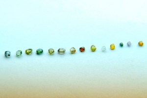 A range of alluvial coloured diamonds from eastern Democratic Republic of Congo