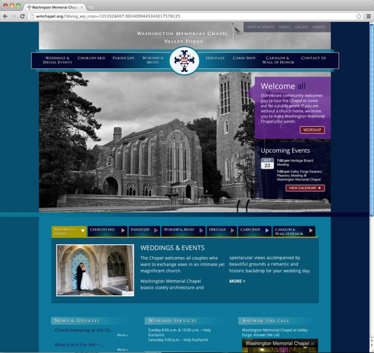 Washington Memorial Chapel - homepage web design