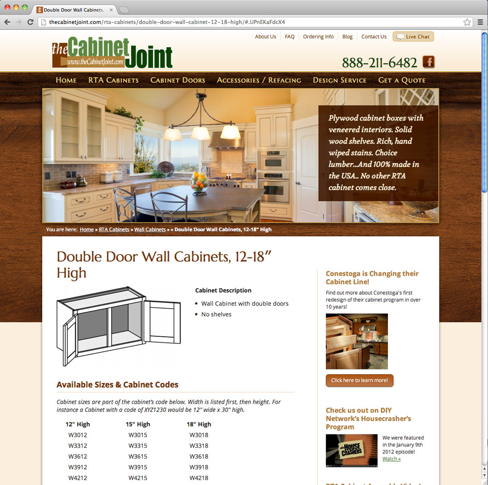 Product page after the web redesign