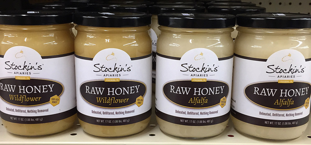 Stockins Raw Honey on a store shelf