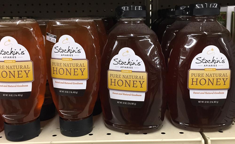 Honey label on bottles