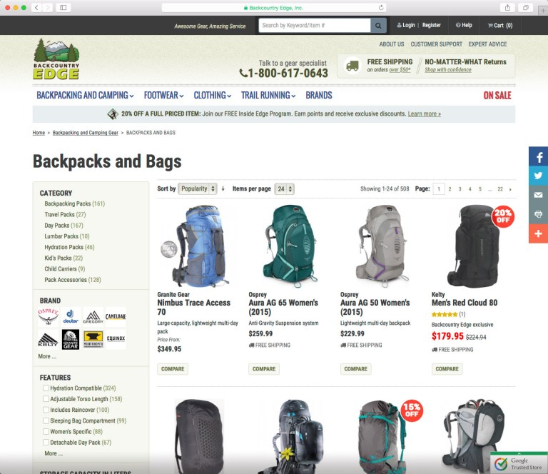 Category page screenshot