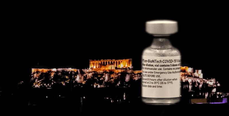 Pfizers vaccin mot Covid-19 framför Akropolis Foto: John Göransson.