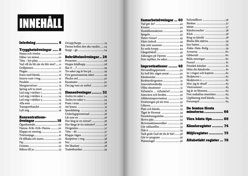 Innehållsförteckningen i boken Dramaövningar: trygghetsövningar; koncentrationsövningar med mera