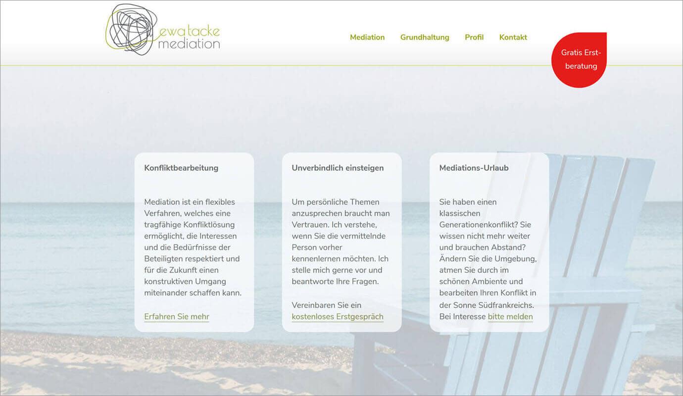 Beispiel Webseite von greme.de - tacke mediation