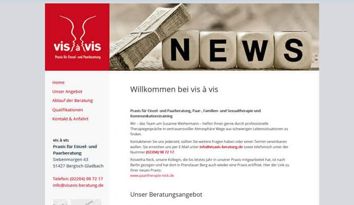 Beispiel Webseite von greme.de - Praxis vis-a-vis