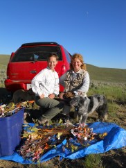 Elizabeth Crone (Harvard Forest) and I at Sheep Corral Gulch, MT, after dismantling several experiments. That's a lot of flags and tags!