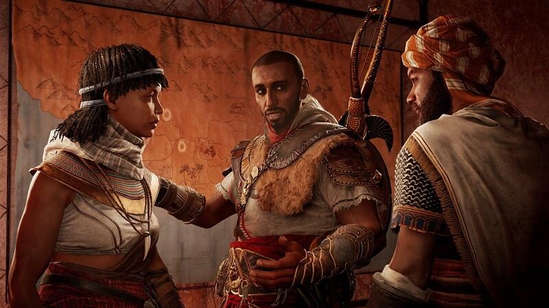 Bayek, Tahira y Gamilat, en la primera expansión de ACO, 'Los Ocultos'