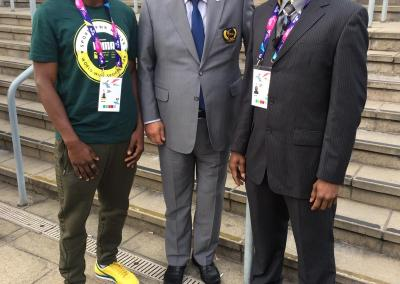 President Choung-won Choue with Fronzie Charles and Rowan
