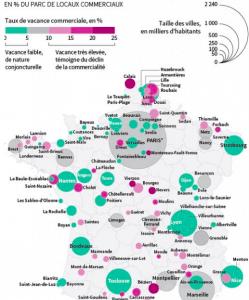 """la carte du """"Monde de l'économie"""" qui place le commerce Grenoblois dans la catégorie des villes de seconde zone: Clermont-Ferrand, Limoges, Brest...au bord de la perte de"""