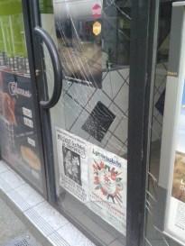 vitre vandalisée - épicerie rue Renauldon