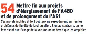 """L'engagement 54 qui doit """" mettre fin au projet d'élargissement de A 480..."""""""