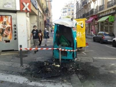WC de chantier incendié rue Thiers