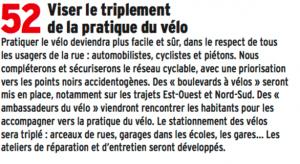 """Pas trop difficile de tripler l'utilisation du vélo quand on part de 2 à 3% de part dans les déplacements. Les """"ambassadeurs du vélo"""" , ces commissaires peuple appelés à corriger les comportements déviants n'ont pas été mis en place"""