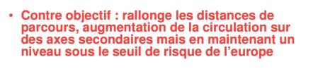 le document reconnait la rallonge des distances, l'augmentation de la circulation, mais indique que l'augmentation de la pollution qui en résulte restera en dessous des seuils européens alors que la municipalité refuse une étude d'impact