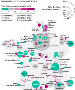 """La carte du """"Monde"""" qui place le commerce Grenoblois avec les villes en déclin ( Clermont Ferrand, Limoges) tandis que Strasbourg, Bordeaux, Lyon progressent"""