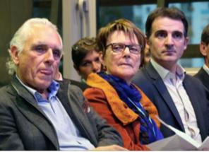 J.Chiron (PS) et M.Boileau (Verts/Ades) les présidents successifs de Grenoble Habitat avec E.Piolle