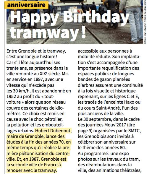 Pendant que Grenoble vote pour le tram (1983) réalise les études (1984) effectue les travaux ( 84/87) il y a un grand blanc: le 30 eme anniversaire du Tram peut être mentionné sans le nom d'Alain Carignon...