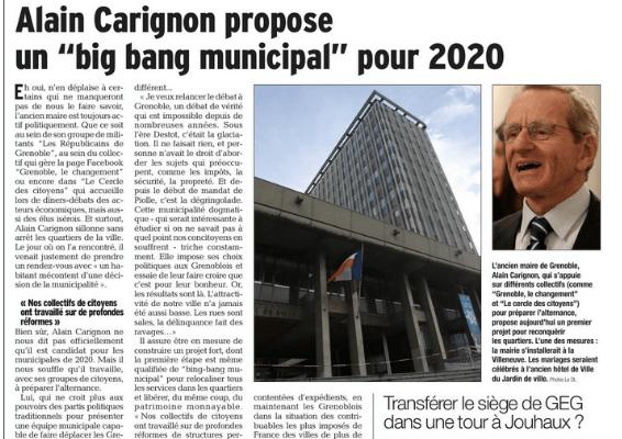 Le Dauphiné ( 6/3/18) présente un des volets des solutions d'Alain Carignon et de notre collectif: les grenoblois disposent enfin d'une véritable alternative