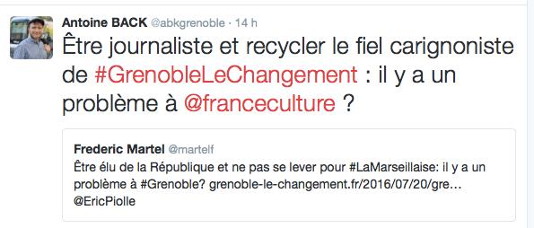 S'attaquant à un journaliste de France Culture qui osé reprendre l'information selon laquelle il était demeuré assis pendant la Marseillaise