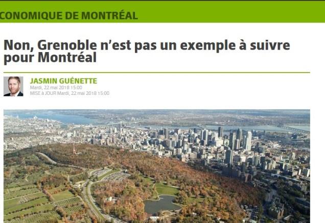 Non Grenoble n'est pas un exemple à suivre pour Montréal