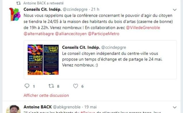 """les conseils citoyens """"indépendants """", Alternatiba et Antoine Back qui ne font qu'un organisent une conférence ensemble sur le """" pouvoir d'agir des citoyens"""" le 24 mai. La scoumoune les poursuit"""